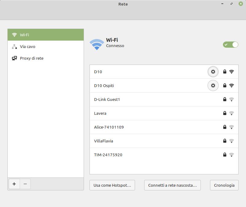 impostazioni di rete wifi Linux Mint