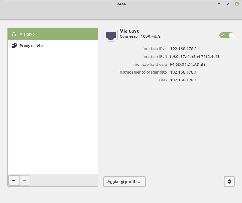 impostazioni di rete Linux Mint