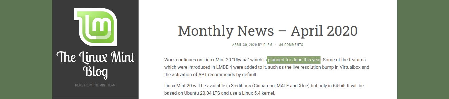 Linux Mint 20 uscita a giugno