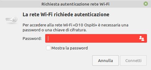 indicazione password rete wifi