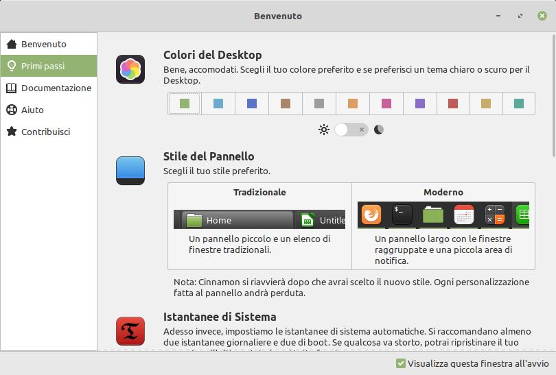 Schermata di benvenuto di Linux Mint 20