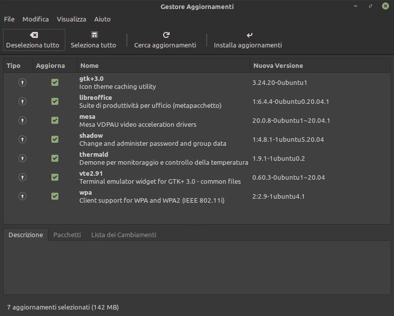aggiornamenti Linux Mint 20 del 3 luglio 2020