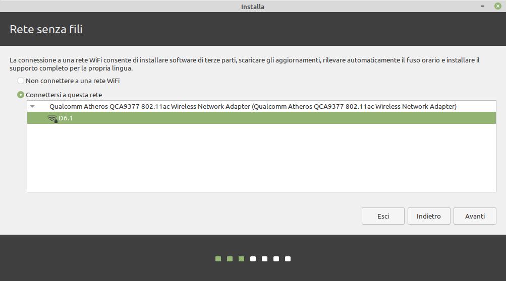 connessione a una rete - installazione Linux Mint 20