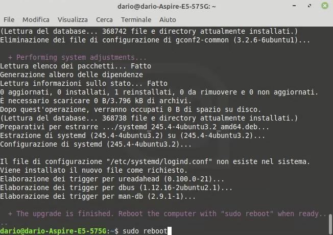 aggiornamento a linux mint 20 completato