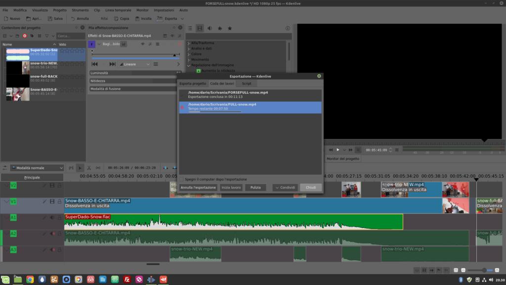schermata di kdenlive in Linux Mint