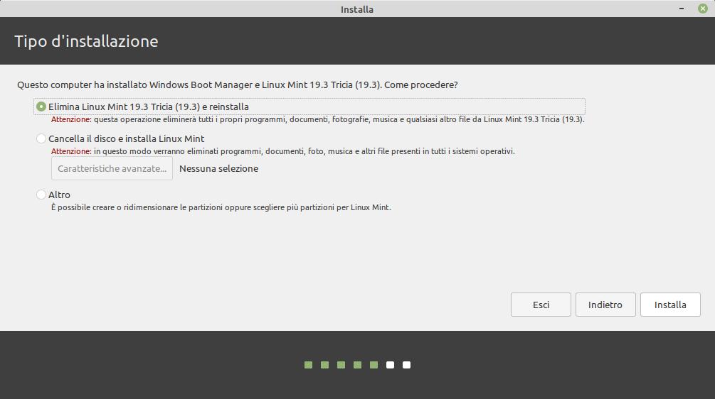 tipo installazione Linux Mint 20