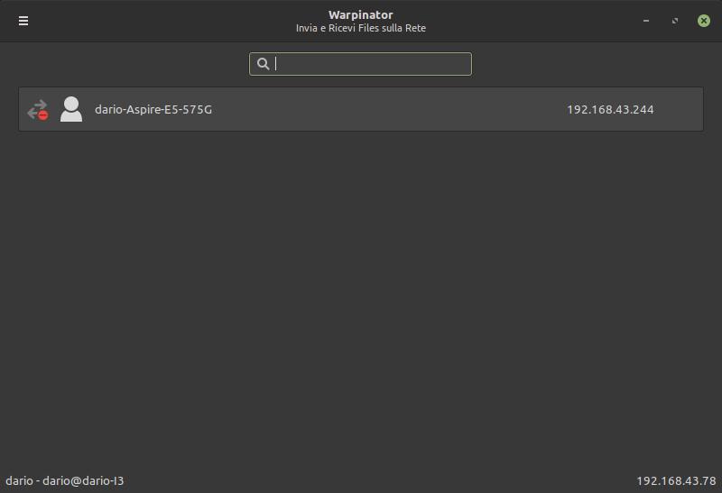 Warpinator in Linux Mint 20
