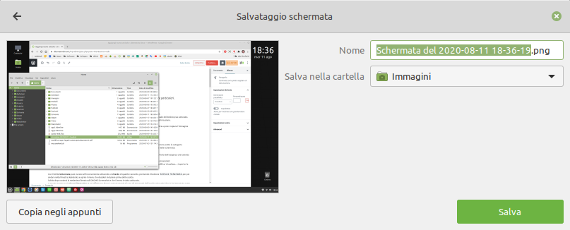 anteprima di uno screenshot in Linux Mint