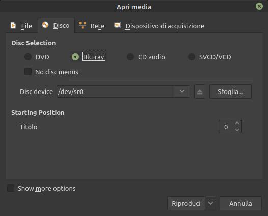 apri media in VLC