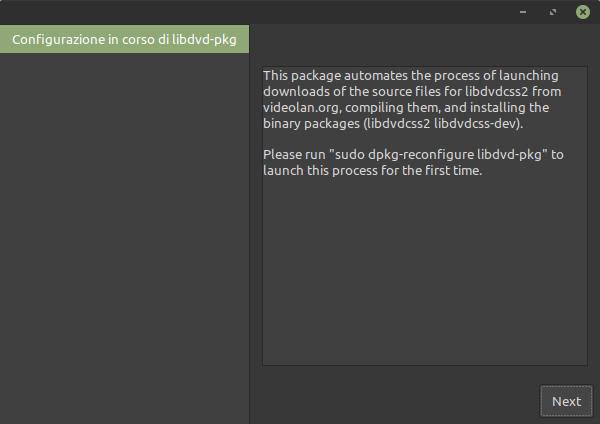 configurazione libdvd-pkg in Linux Mint