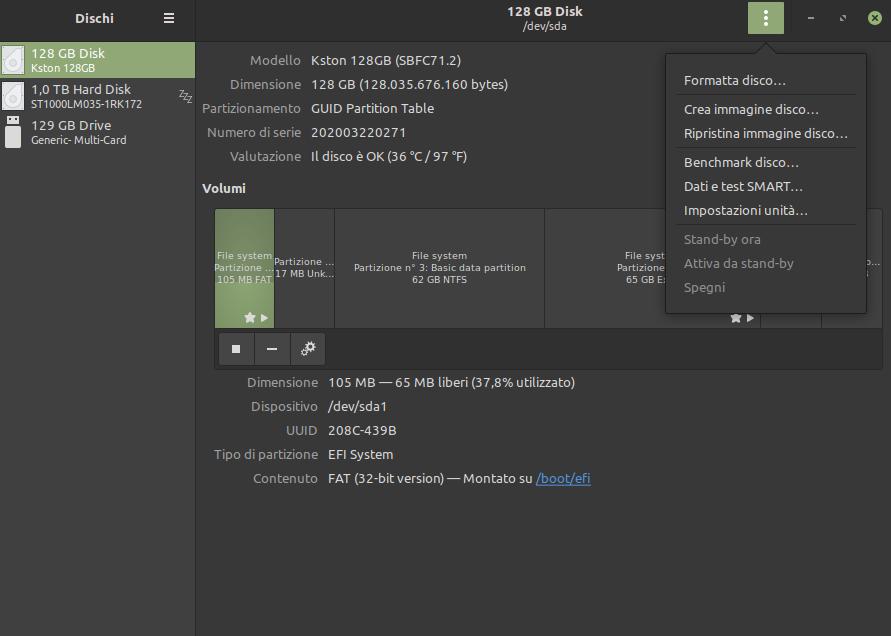 test SMART dischi in Linux Mint
