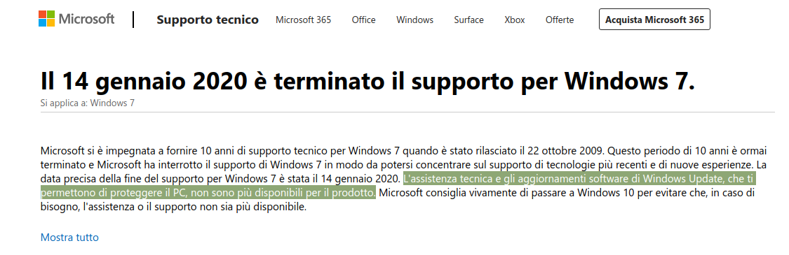 fine supporto windows 7 pericoloso