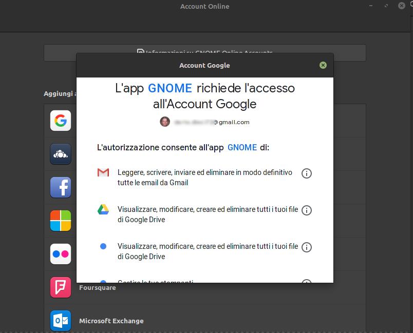 connessione ai servizi google drive mail etc in linux mint