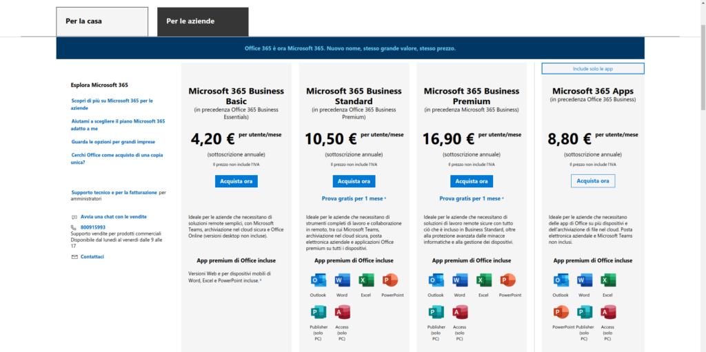 costi licenze Microsoft 365