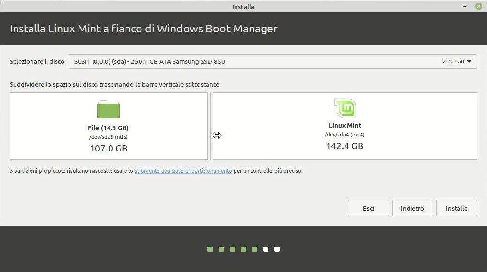allocazione spazio per installazione Linux Mint