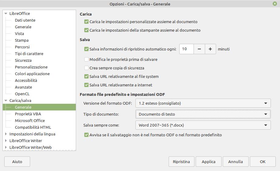 modificare formati file predefiniti LibreOffice in quelli Microsoft