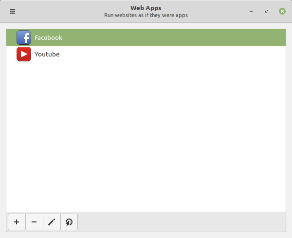 finestra principale di Web Apps in Linux Mint