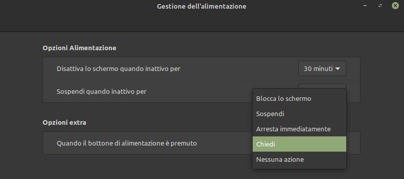 GEstione dell'alimentazione in Linux Mint: comportamento del pulsante di accensione