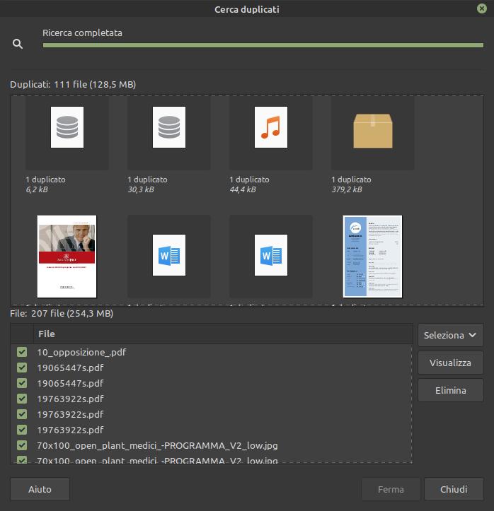 ricerca duplicati non multimediali in Pix