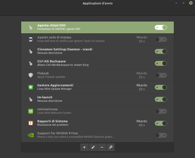 disattivare applicazioni d'avvio in Linux Mint