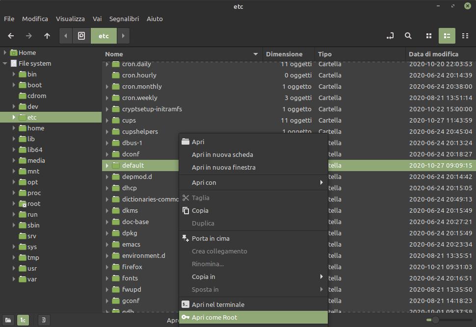 apri come root con Nemo in Linux Mint