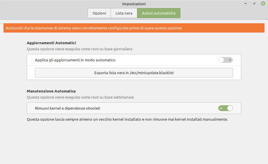 azioni automatiche aggiornamenti kernel Linux Mint