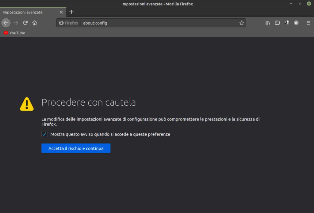 configurazione avanzata di Firefox in Linux Mint