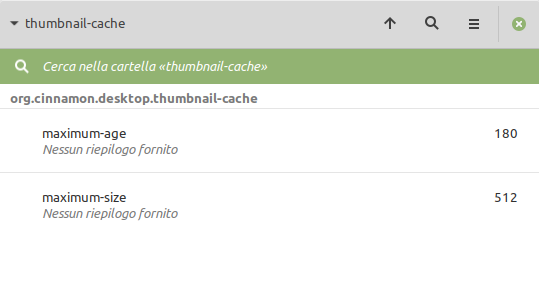 dconf-editor in Linux Mint: thumbnail-cache