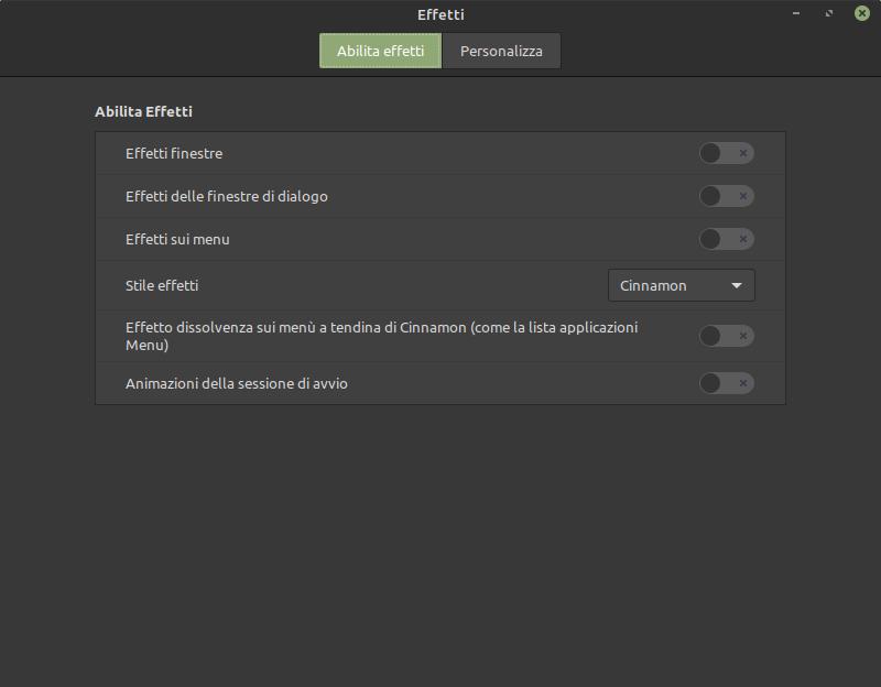 disattivazione degli effetti grafici di Linux Mint