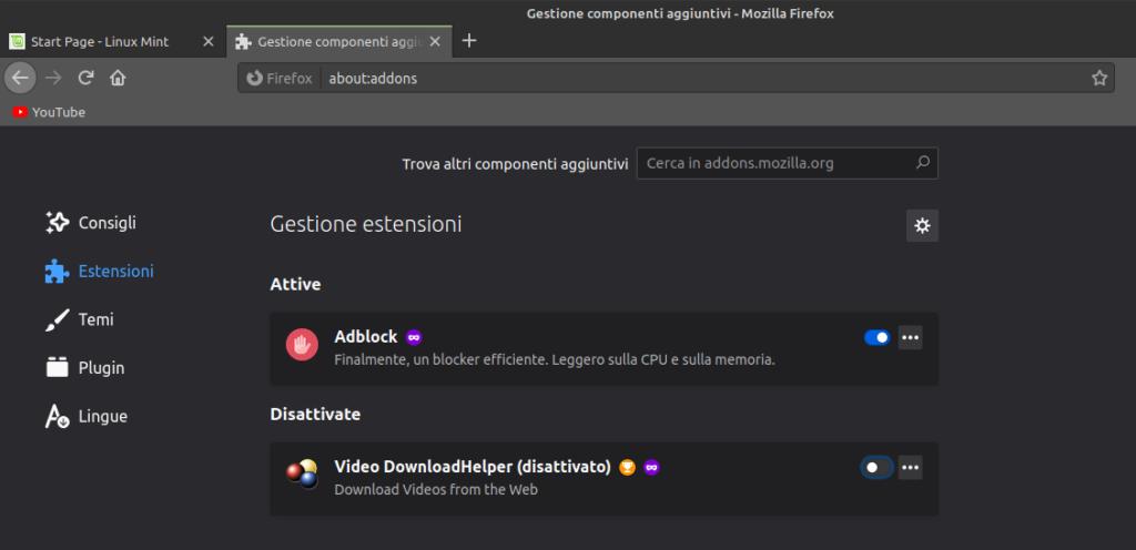 gestione di plugin ed estensioni in Firefox