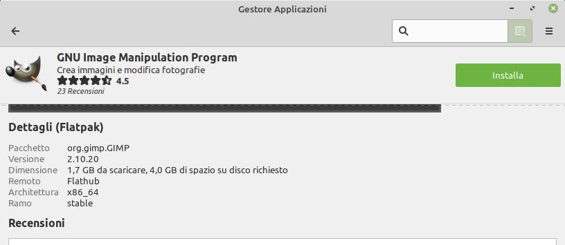 peso flatpak Gimp in Linux Mint 20