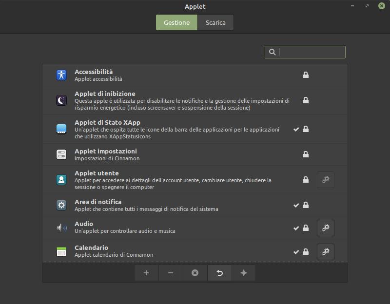 impostazioni delle applet in Linux Mint 20