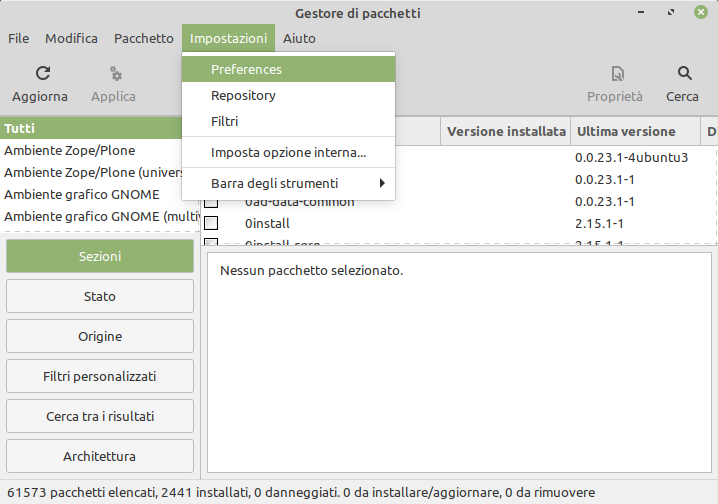 synaptic package manager in Linux Mint
