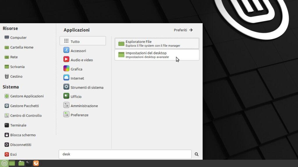 impostazioni desktop avanzate in Linux Mint MATE