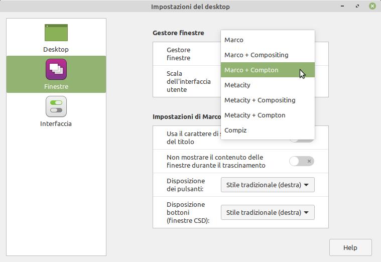 Gestore finestre nelle impostazioni desktop di linux Mint MATE