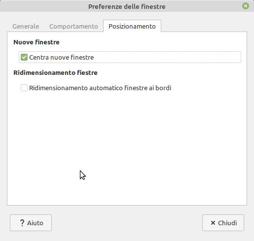preferenze posizionamento delle finestre in Linux Mint MATE
