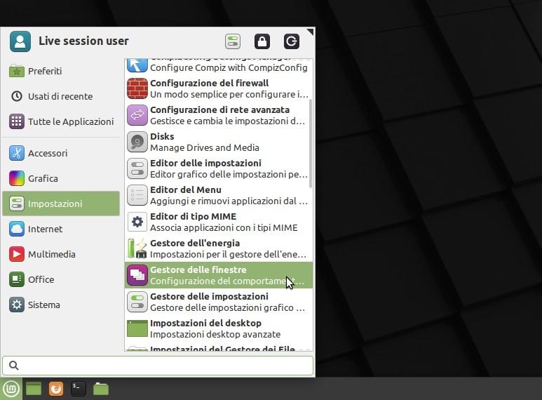 apertura impostazioni finestre Linux Mint Xfce