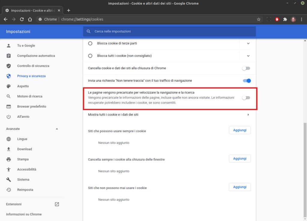 non velocizzare la navigazione in Google Chrome