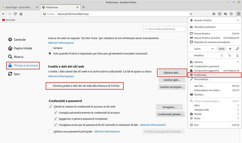 preferenze privacy per la pulizia di Firefox in Linux Mint