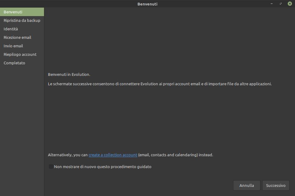 schermata di benvenuto in Evolution Mail Linux Mint