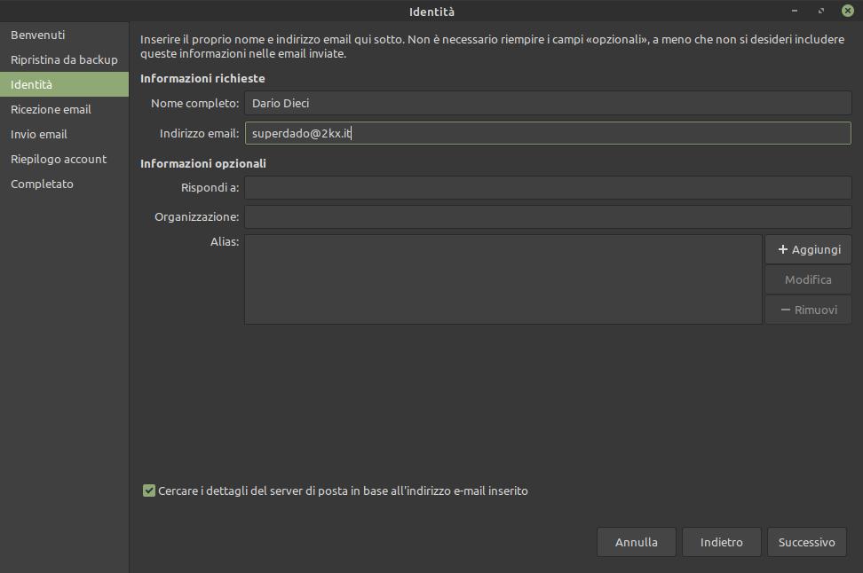 impostazioni identità Evolution Mail Linux Mint