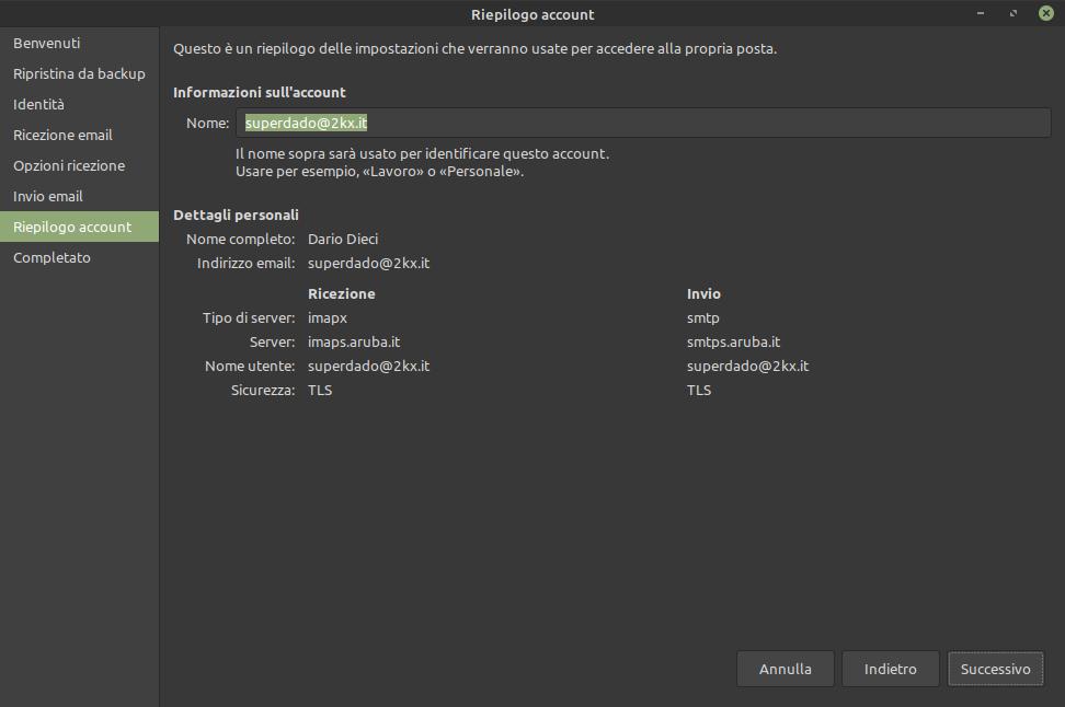 riepilogo impostazioni account posta Evolution Mail in Linux Mint