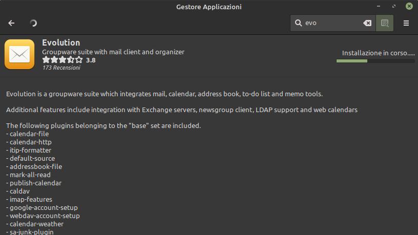 Installazione Evolution Mail nel gestore applicazioni di Linux Mint