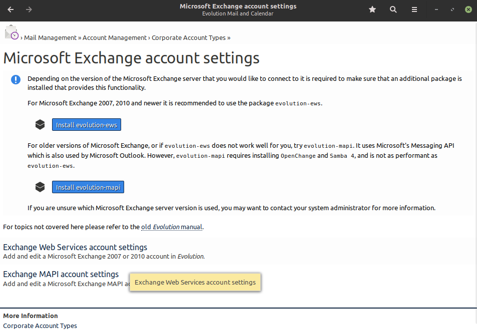 supporto Microsoft Exchange in Evolution Mail Linux