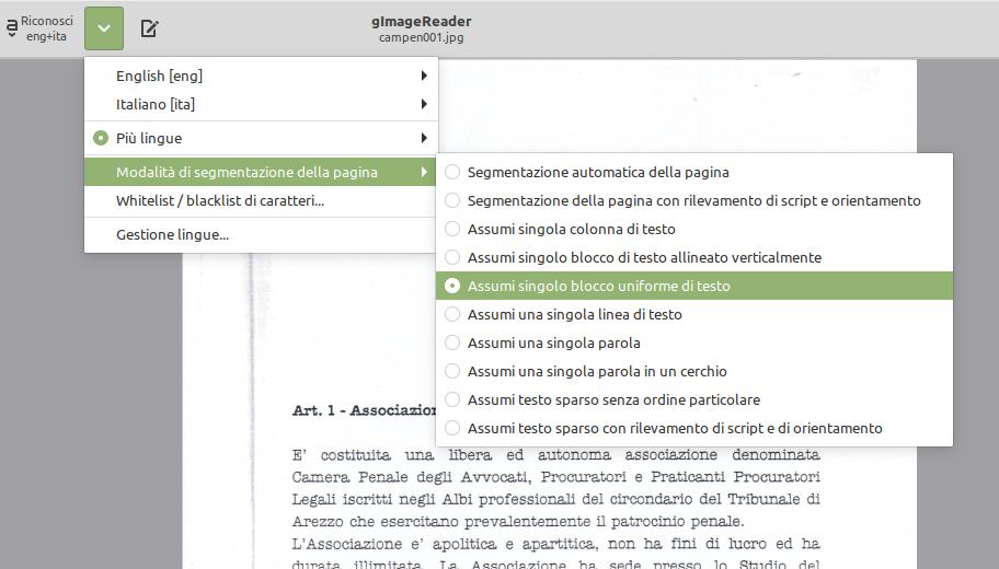 tipo di struttura documento per ocr linux