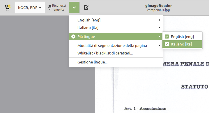 selezione lingue ocr gimagereader linux tesseract
