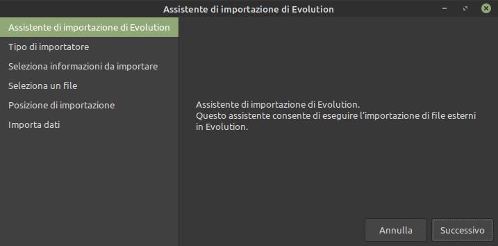 assistente importazione Evolution Mail