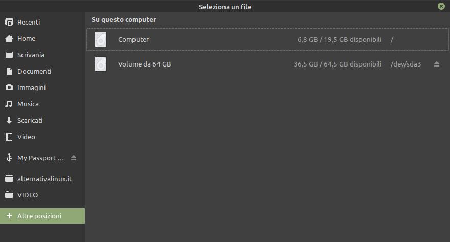 sleleziona partizione Windows per Evolution