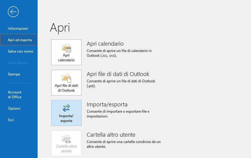 esportazione pst Outlook 1
