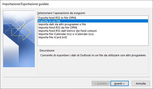 outlook esporta in un file